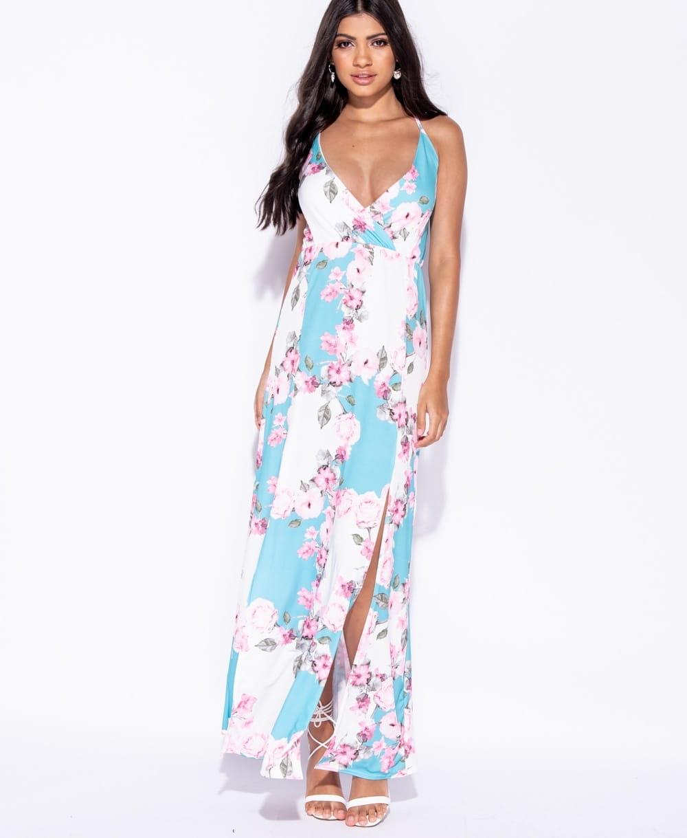 Aqua letnia sukienka na ramiączkach w kwiaty ost40