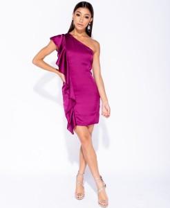 ed6ac51c4b Frill - sukienka satynowa na jedno ramię